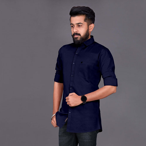 Dark Blue New Casual Look Cotton Fabric With Full Sleeve Shirt