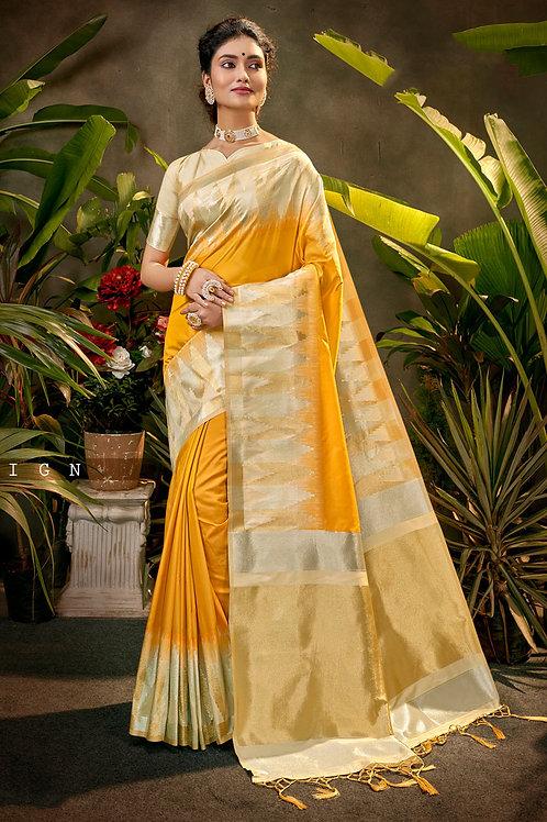 Presenting Soft Lichi Silk Yellow Colour Saree