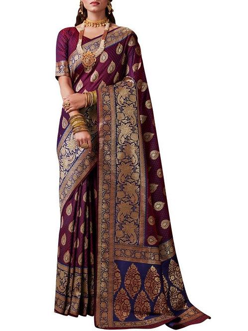 Breathtaking Purple Color Silk Sarees Online