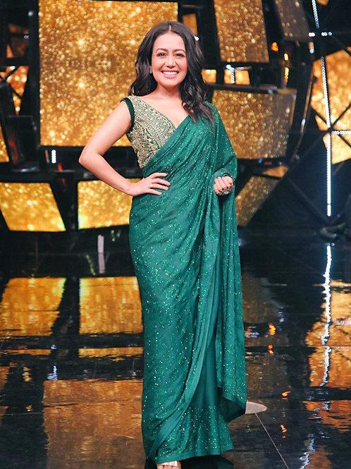 Neha Kakkar Wear Green Cocktail Saree