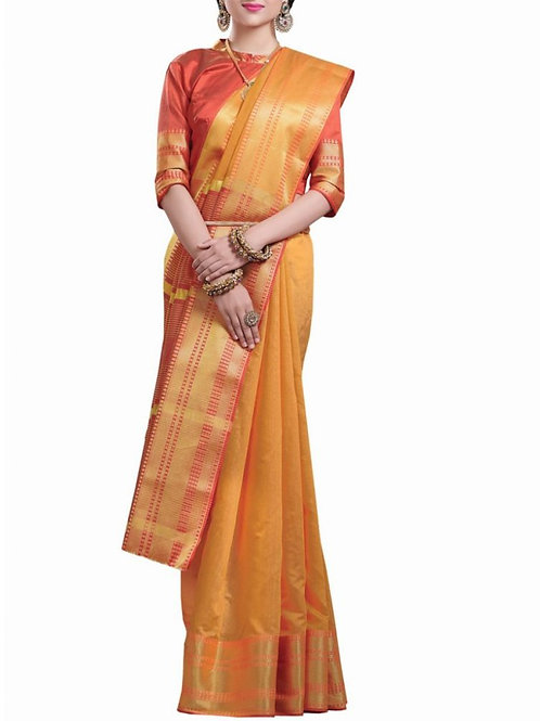 Agreeable Yellow Color Branded Saree Online