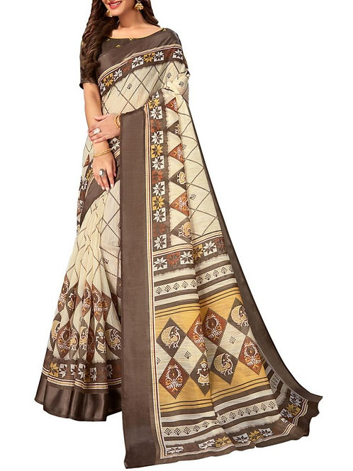Pleasing Off White Color Fancy Sarees Online Shopping With Price
