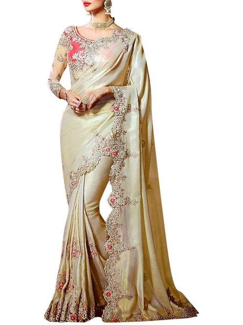 Astonishing Cream Bengali Saree