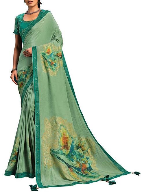 Delightful Sea Green Women Saree