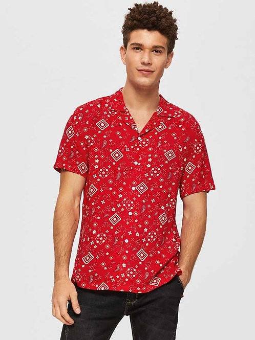 Soft Cotton Admiring Revere Collar Red Coloured Paisley Shirt