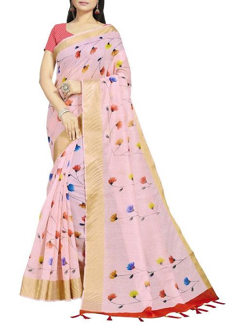 Fabulous Light Pink Indian Saree Design