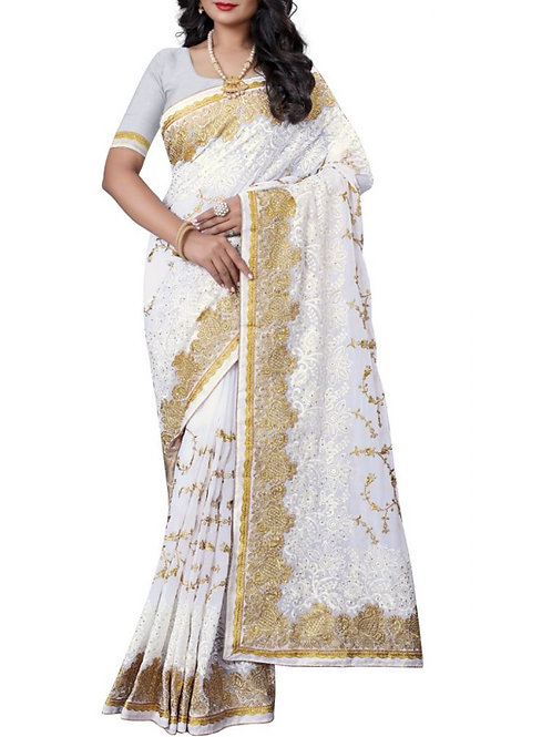 Fascinating White Color Bollywood Sarees