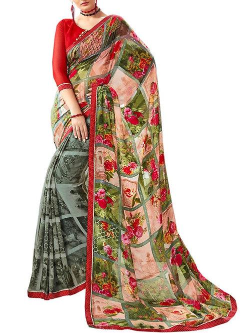 Gratifying Multi Color Online Designer Saree Shopping Sites