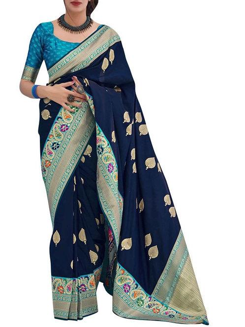 Delightful Navy Blue Fancy Saree Online Shopping