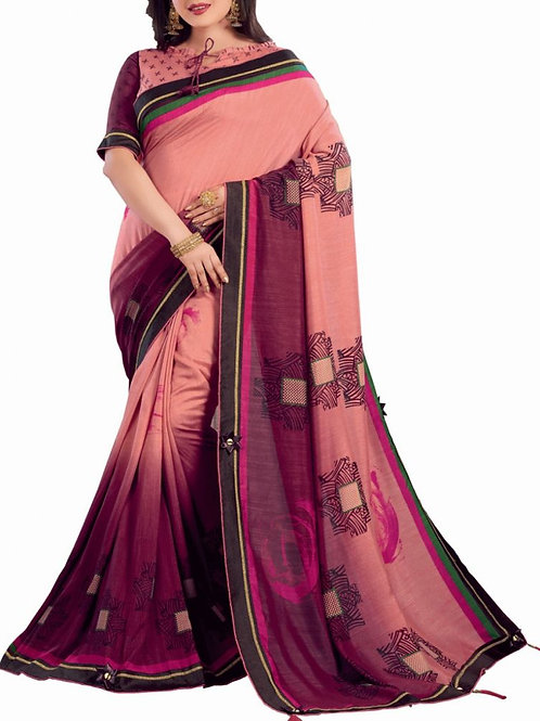 Agreeable Peach And Magenta Color Buy Sarees Online
