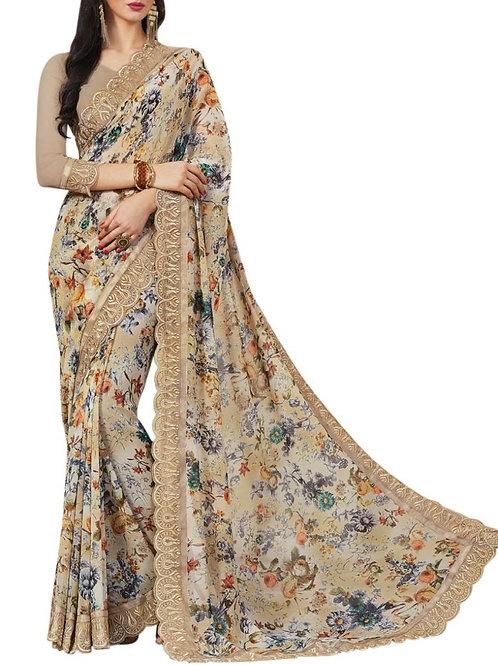 Alluring Beige Color Indian Sarees
