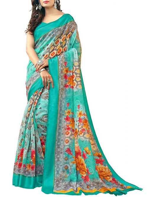 Beyond Belief Turquoise Color Pattu Sarees Online