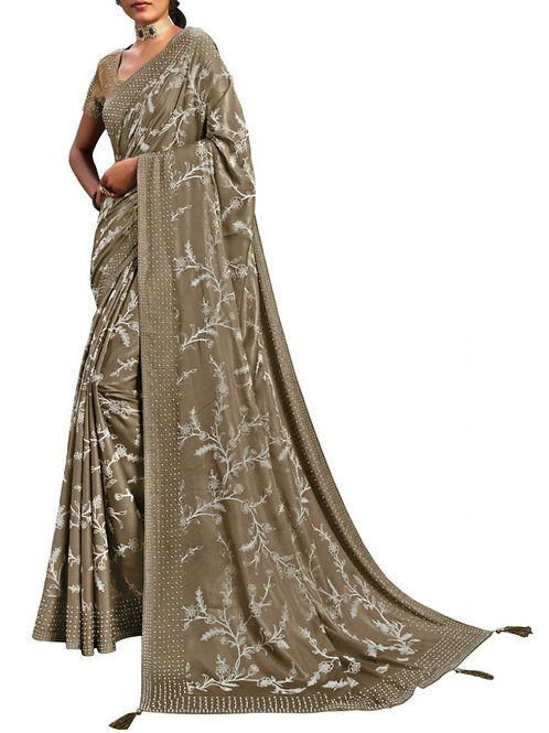 Magnetic Beige Party Wear Sarees Online Shopping