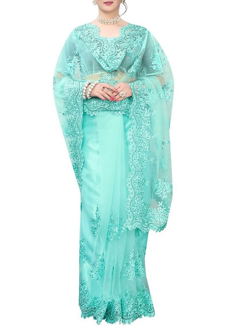 Lovely Sky Blue Designer Saree Collection