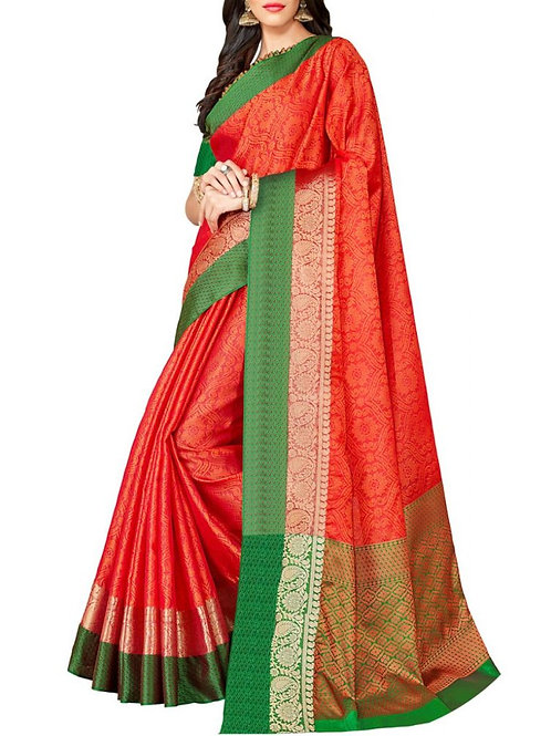 Graceful Dark Orange Color Pure Silk Sarees Online