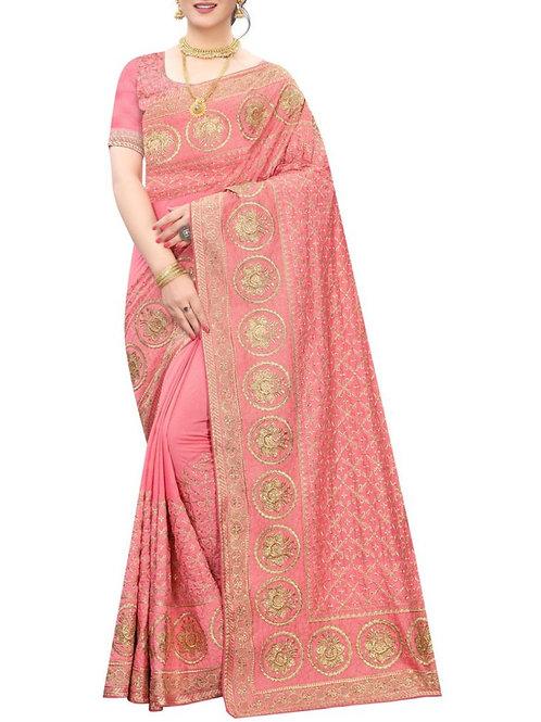 Pleasing Peach Fashion Sarees Online