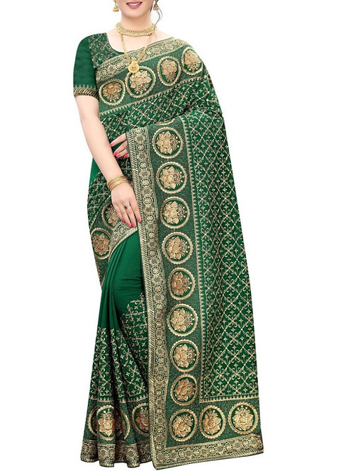Captivating Bottle Green Indian Saree For Sale
