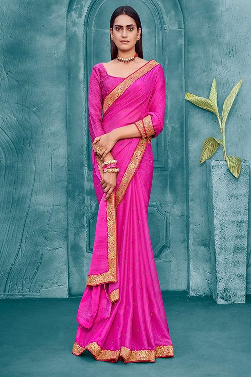 Dark Pink Color Soft Silk Saree