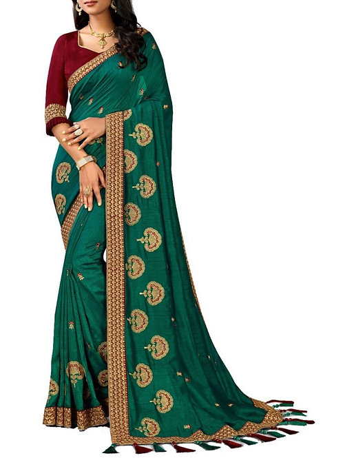 Perfect Teal Blue Function Sarees Online