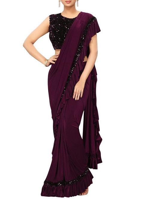 Graceful Purple Color Fancy Saree