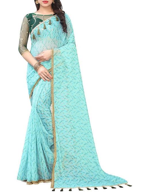 Fabulous Sky Blue Online Saree Store