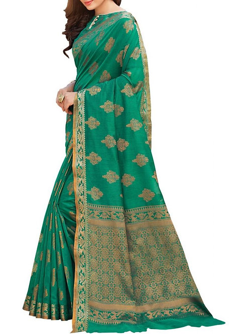 Eye-Popping Sea Green Color Latest Ladies Saree