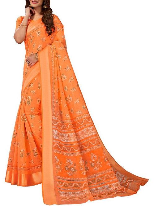 Pleasurable Orange Color Designer Sarees For Party