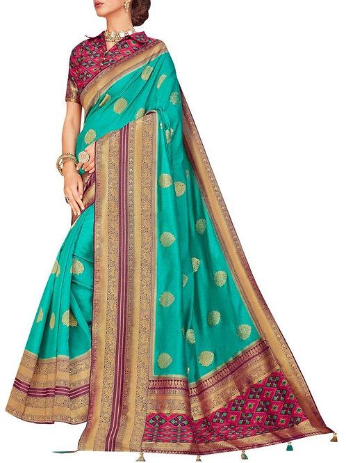 Exquisite Firozi Ladies Sarees Online Shopping