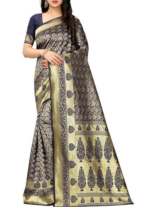 Enchanting Navy Blue Designer Sarees Online Shopping