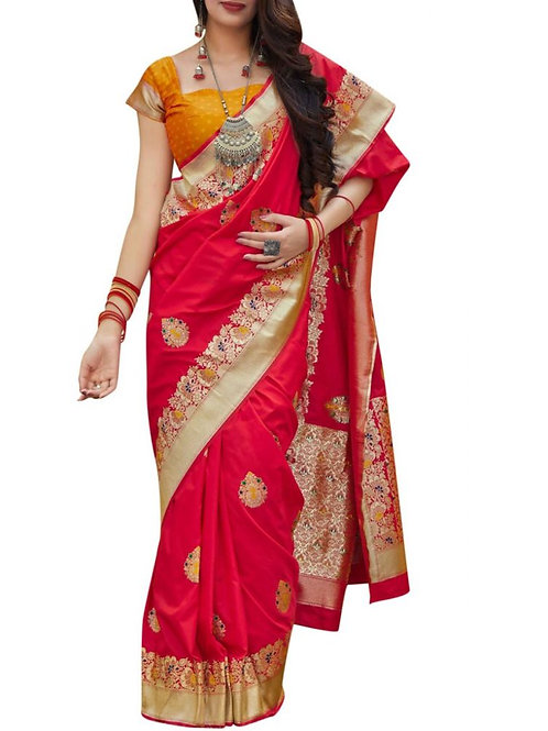 Agreeable Red Wedding Sarees Online
