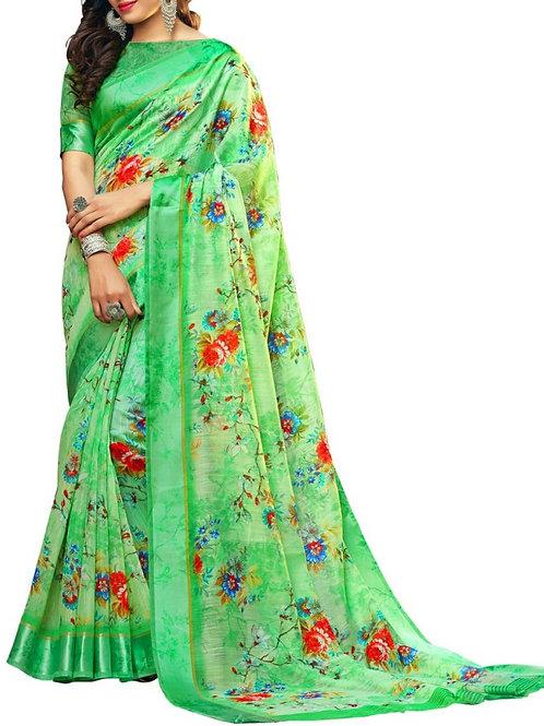 Radiant Light Green Color Buy Designer Sarees Online
