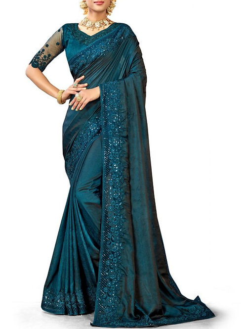 Awesome Teal Blue Saree For Dinner Party