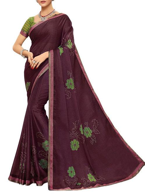 Fashionable Wine Color Best Designer Sarees Online