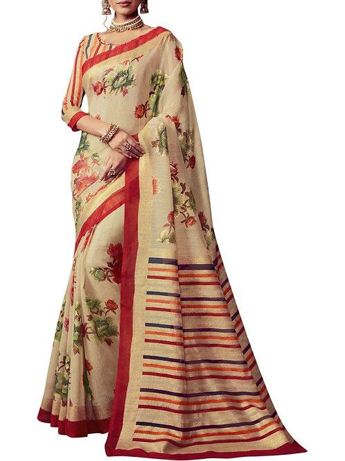 Exquisite Beige Color Saree Blouse Patterns