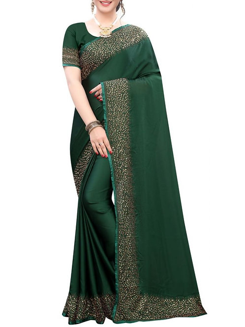 Pleasurable Forest Green Embroidery Saree