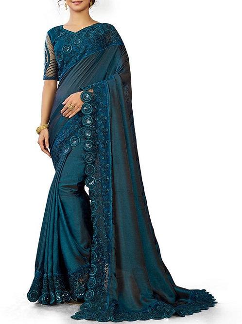 Astonishing Teal Blue Sarees Online Shopping Low Price