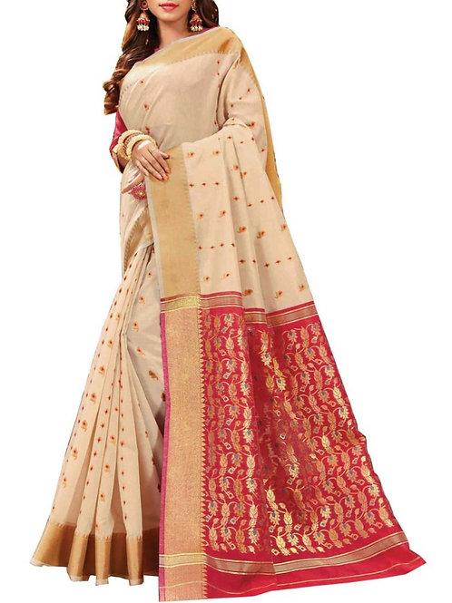 Presentable Off White Color Bangladeshi Saree