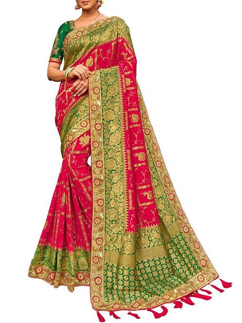 Adorable Rani Pink Designer Silk Sarees