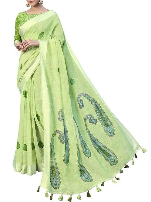 Glorious Pista Color Designer Sarees Online Shopping
