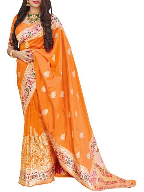 Adorable Orange Sarees Online India