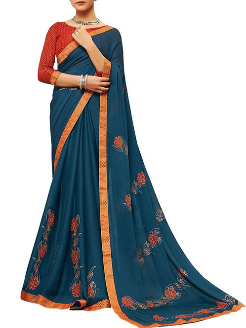 Exhilarant Blue Color Designer Sarees Online Shopping Cash On Delivery