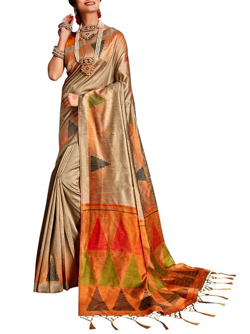 Agreeable Beige New Party Wear Saree