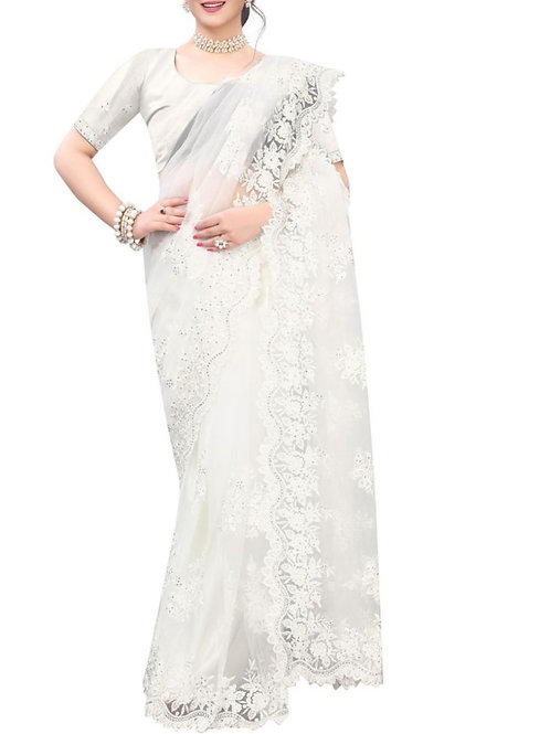 Confounding White South Indian Saree