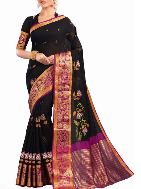 Astonishing Black Color Fancy Sarees Online Shopping With Price