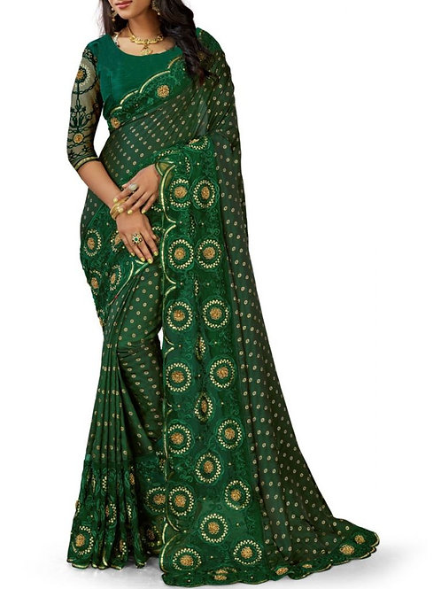 Heart-Stopping Green Party Wear Sarees