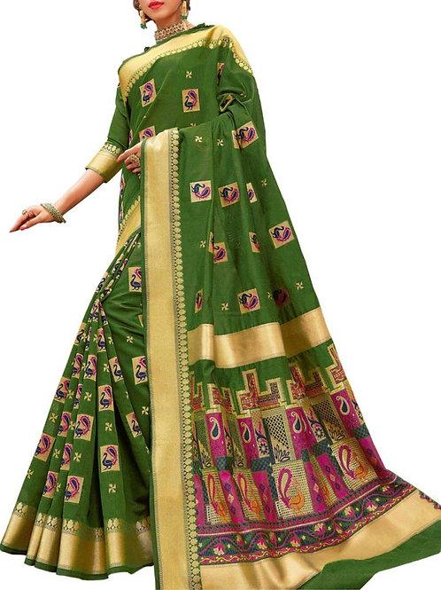 Impressive Olive Color Bridal Sarees