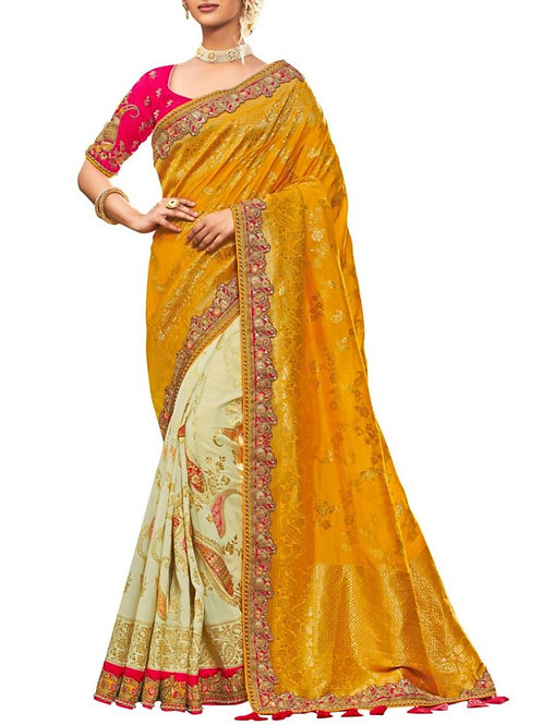 Excellent Yellow And White Fancy Designer Saree