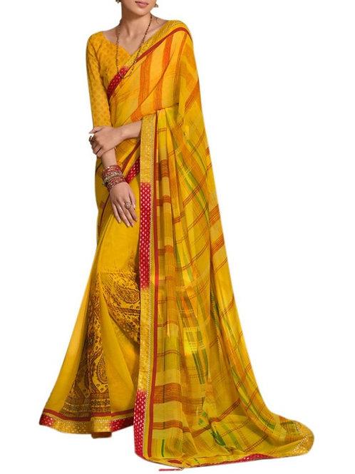 Delight Yellow Fancy Designer Saree