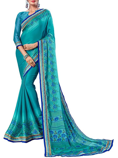 Delightful Sky Blue Color Indian Silk Sarees