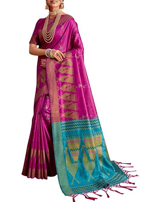 Adorable Rani Pink Printed Saree Online